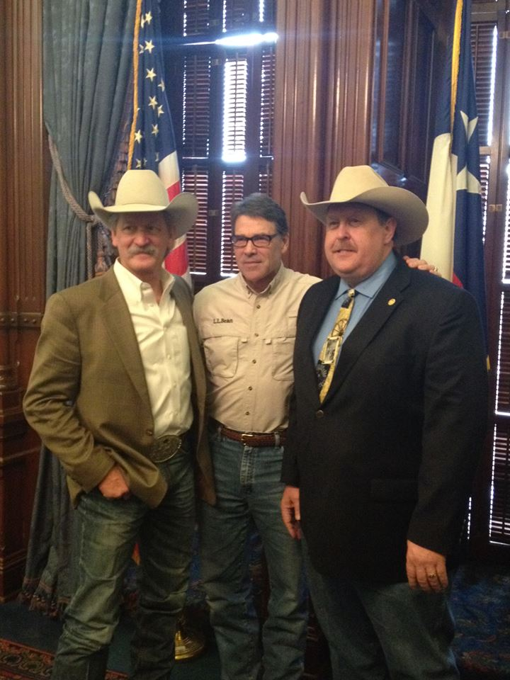 PRCA Commissioner Karl Stressman, Governor of Texas Rick Perry and State House Representative Cecil Bell Jr