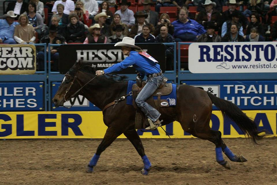 Mary Walker and her horse Latte at the NFR